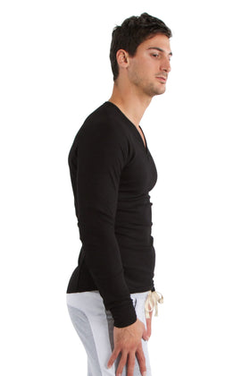 Thermal V-Neck Long Sleeve (Black) Mens Thermals 4-rth