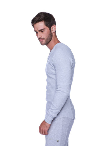 Thermal V-Neck Long Sleeve (Heather Grey) Mens Thermals 4-rth
