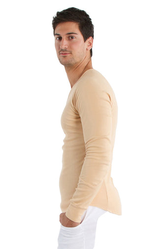 Thermal V-Neck Long Sleeve (Sand) Mens Thermals 4-rth