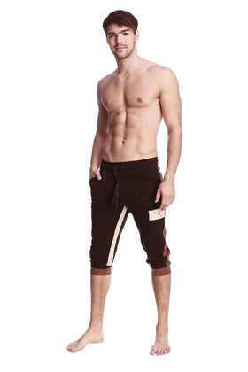 Tri-Color Edge Cuffed Yoga Pants (Black w/Chocolate & Sand) Edge Pants 4-rth