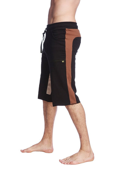 Tri-color Ultra-flex Yoga Short (Black w/Chocolate & Sand) Mens Shorts 4-rth