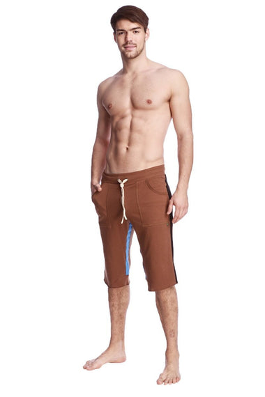 Tri-color Ultra-flex Yoga Short (Chocolate w/Black & Ice) Mens Shorts 4-rth