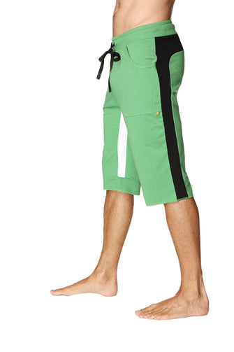 Tri-color Ultra-flex Yoga Short (Green w/Black & White) Mens Shorts 4-rth