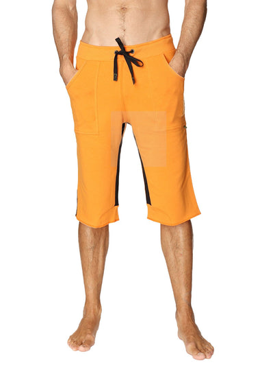 Tri-color Ultra-flex Yoga Short (Orange w/Black & Black) Mens Shorts 4-rth