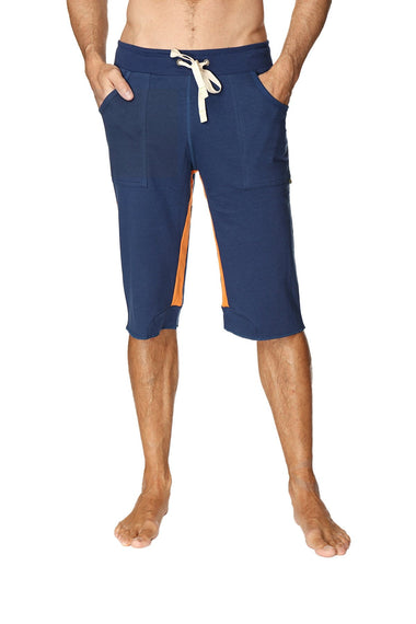 Tri-color Ultra-flex Yoga Short (Royal w/Orange & Orange) Mens Shorts 4-rth