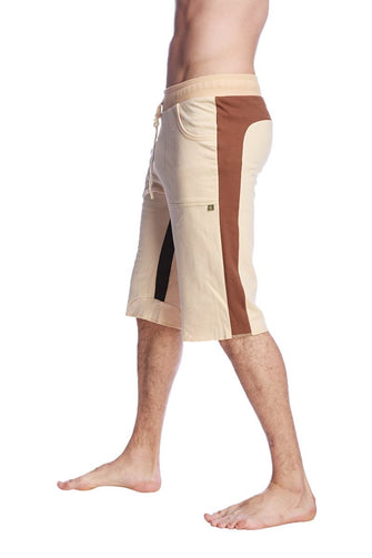 Tri-color Ultra-flex Yoga Short (Sand w/Chocolate & Black) Mens Shorts 4-rth