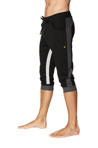 Ultra-Flex Tri-color Cuffed Yoga Pant (Black w/Charcoal & Grey) Cuffed Pants 4-rth