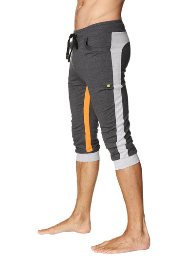 Ultra-Flex Tri-color Cuffed Yoga Pant (Charcoal w/Grey & Orange) Cuffed Pants 4-rth