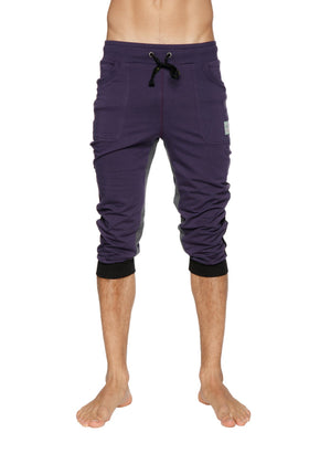 Ultra-Flex Tri-color Cuffed Yoga Pant (Eggplant w/Black & Charcoal) Cuffed Pants 4-rth