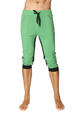 Ultra-Flex Tri-color Cuffed Yoga Pant (Green w/Black & Black) Cuffed Pants 4-rth