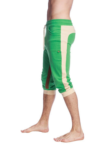 Ultra-Flex Tri-color Cuffed Yoga Pant (Green w/Sand & Chocolate) Cuffed Pants 4-rth