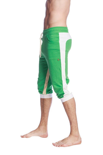 Ultra-Flex Tri-color Cuffed Yoga Pant (Green w/White & Sand) Cuffed Pants 4-rth