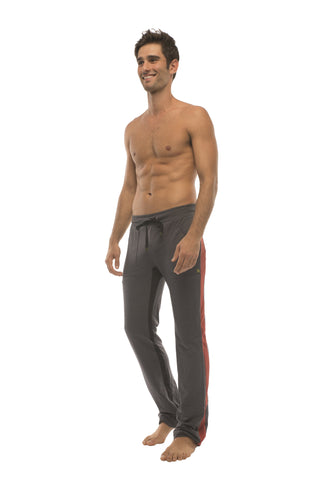 Ultra Flex Yoga Track Pant (CHARCOAL w/Cinnabar & Black) Mens Pants 4-rth