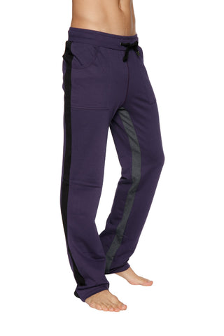 Ultra Flex Yoga Track Pant (Eggplant w/Black & Charcoal) Mens Pants 4-rth