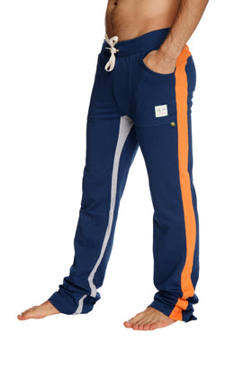 Ultra Flex Yoga Track Pant (Royal Blue w/Orange & Grey) Mens Pants 4-rth