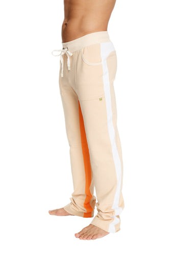 Ultra Flex Yoga Track Pant (Sand w/White & Orange) Mens Pants 4-rth