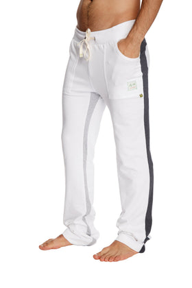 Ultra Flex Yoga Track Pant (WHITE w/Charcoal & Grey) Mens Pants 4-rth