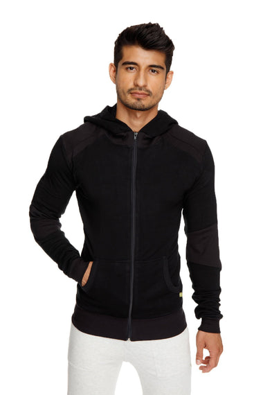 **Winter Collection** Mid-Weight LUXURY-Fleece Form-fit Crossover Yoga Track Performance Hoodie (Black)