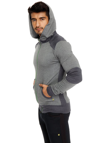 **Winter Collection** Mid-Weight LUXURY-Fleece Form-fit Crossover Yoga Track Performance Hoodie (Charcoal)