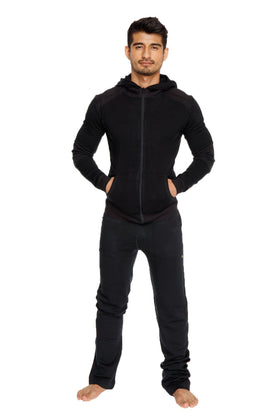 **Winter Collection** Mid-Weight LUXURY-Fleece Crossover Hoodie (Black)