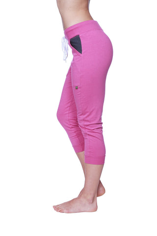 Women's 3/4 Cuffed Capri Yoga Pant (Berry w/Charcoal) Womens Capris 4-rth