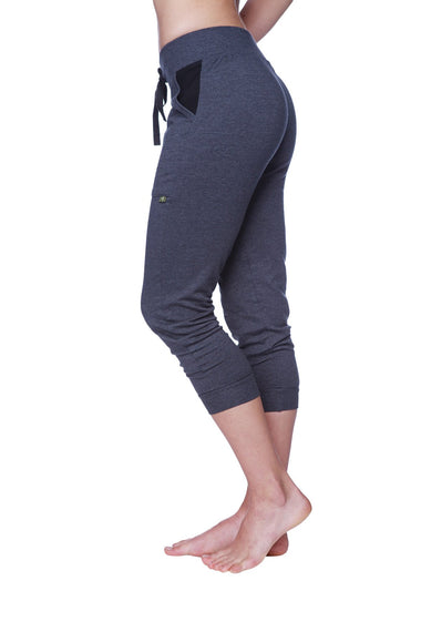 Women's 3/4 Cuffed Capri Yoga Pant (Charcoal w/Black) Womens Capris 4-rth