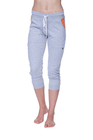 Women's 3/4 Cuffed Capri Yoga Pant (Heather Grey w/Orange) Womens Capris 4-rth
