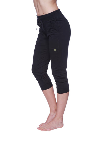 Women's 3/4 Cuffed Capri Yoga Pant (Solid Black) Womens Capris 4-rth