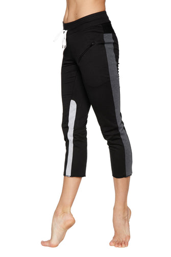 Women's 4/5 Length Zipper Pocket Capri Yoga Pant (Black w/Charcoal & Grey) Womens Capris 4-rth