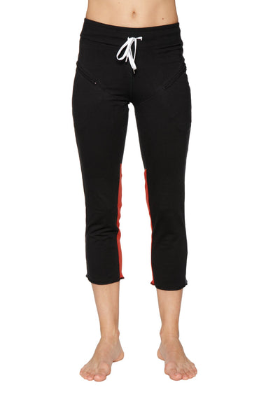 Women's 4/5 Length Zipper Pocket Capri Yoga Pant (Black w/Charcoal & Red) Womens Capris 4-rth