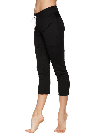 Women's 4/5 Length Zipper Pocket Capri Yoga Pant (Black) Womens Capris 4-rth