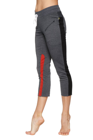 Women's 4/5 Length Zipper Pocket Capri Yoga Pant (Charcoal w/Black & Red) Womens Capris 4-rth