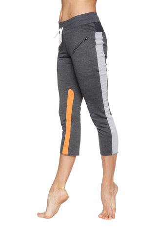 Women's 4/5 Length Zipper Pocket Capri Yoga Pant (Charcoal w/Grey & Orange) Womens Capris 4-rth