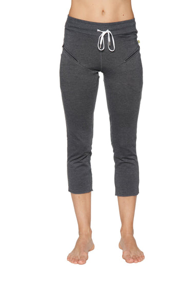 Women's 4/5 Length Zipper Pocket Capri Yoga Pant (Charcoal) Womens Capris 4-rth
