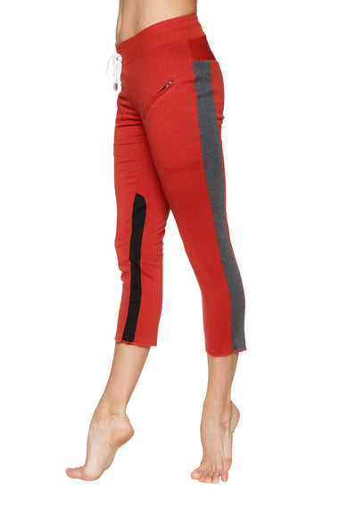 Women's 4/5 Length Zipper Pocket Capri Yoga Pant (Cinnabar w/Charcoal & Black) Womens Capris 4-rth