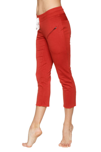 Women's 4/5 Length Zipper Pocket Capri Yoga Pant (Cinnabar) Womens Capris 4-rth