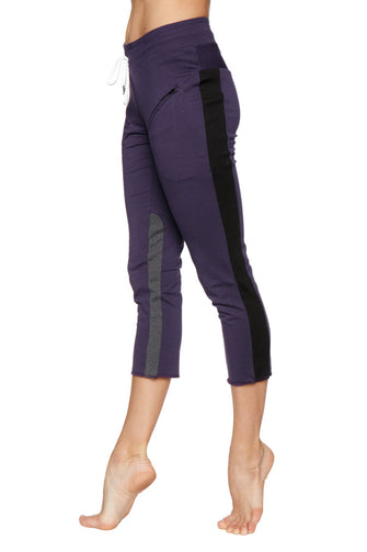 Women's 4/5 Length Zipper Pocket Capri Yoga Pant (Eggplant w/Black & Charcoal) Womens Capris 4-rth
