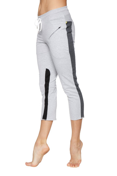 Women's 4/5 Length Zipper Pocket Capri Yoga Pant (Grey w/Charcoal & Black) Womens Capris 4-rth