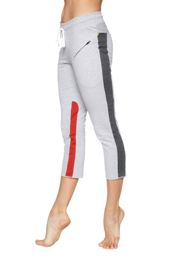 Women's 4/5 Length Zipper Pocket Capri Yoga Pant (Grey w/Charcoal & Red) Womens Capris 4-rth