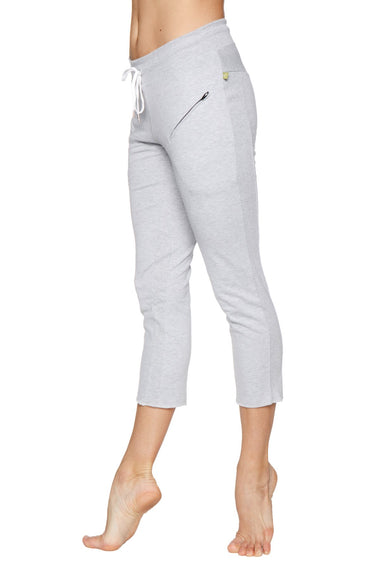 Women's 4/5 Length Zipper Pocket Capri Yoga Pant (Heather Grey) Womens Capris 4-rth