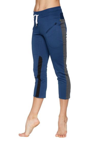 Women's 4/5 Length Zipper Pocket Capri Yoga Pant (Royal w/Charcoal & Black) Womens Capris 4-rth
