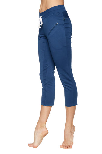 Women's 4/5 Length Zipper Pocket Capri Yoga Pant (Royal) Womens Capris 4-rth