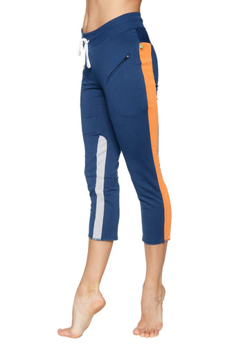 Women's 4/5 Length Zipper Pocket Capri Yoga Pant (Royal w/Orange & Grey) Womens Capris 4-rth