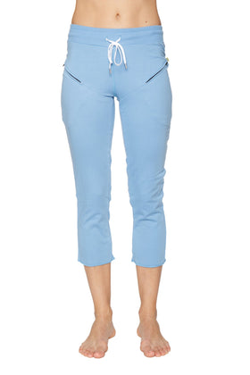 Women's 4/5 Length Zipper Pocket Capri Yoga Pant (Sky Blue) Womens Capris 4-rth