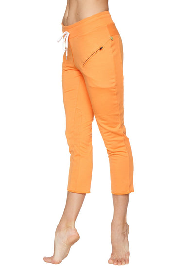 Women's 4/5 Length Zipper Pocket Capri Yoga Pant (Sun Orange) Womens Capris 4-rth