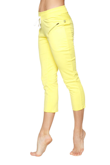 Women's 4/5 Length Zipper Pocket Capri Yoga Pant (Tropic Yellow) Womens Capris 4-rth