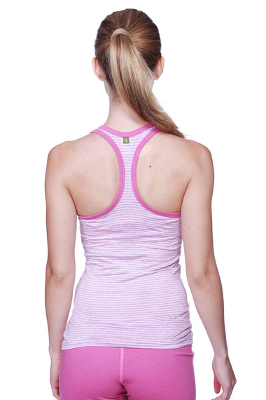 Women's All-American Racerback Tank Top (Pink&Grey Stripe w/ Berry piping) Womens Tank Tops 4-rth
