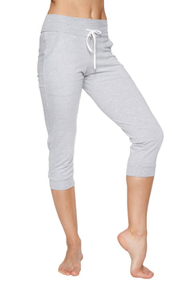 Women's Cuffed Jogger Yoga Pant (Heather GREY) Womens Capris 4-rth