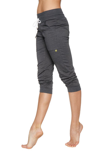 Women's Cuffed Jogger Yoga Pant (Solid Charcoal) Womens Capris 4-rth