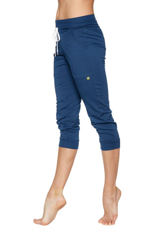 Women's Cuffed Jogger Yoga Pant (Solid Royal Blue) Womens Capris 4-rth